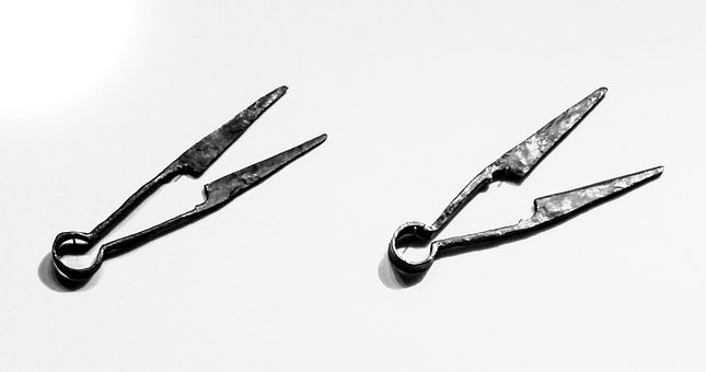 Medieval Scissors, Old, Black And White, Historic