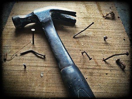 Hammer, Nails, Wood, Board, Tool, Work, Construction