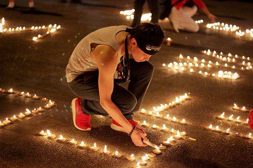 University Student, Candle, Candlelight, Square, Prayer