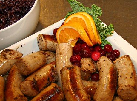 Medisterpølse, Sausage, Orange, Kale, Fried