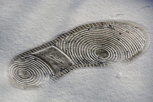 Batch Print, Shoe, Sole, Snow, Footsteps, Footprint