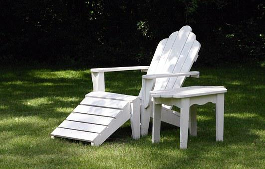 Chair, Table, Adirondack, Air, White, Breeze, Bright