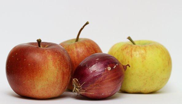 Apple, Onion, Fruit, Red, Red Apple, Kernobstgewaechs