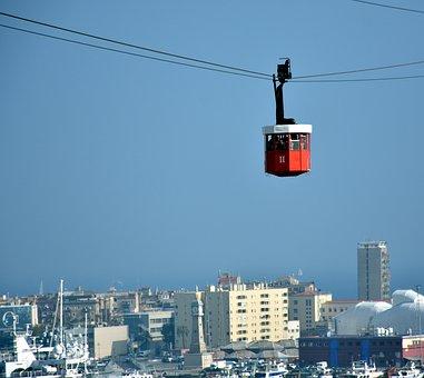 Cable Car, Cabin, Gondola, Barcelona, Tourism, Traffic