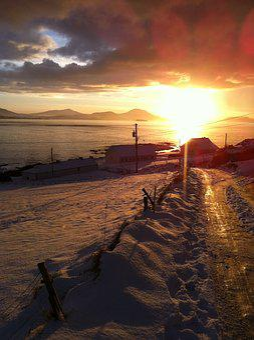 Malin Head, Sunset, Donegal, Ireland, Snow