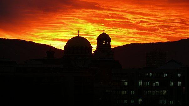 Church, Sunset, Sky, Sofia, Bulgaria, Alexander Nevsky
