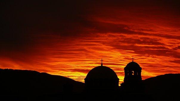 Sky, Sunset, Sofia, Bulgaria Church, Alexander Nevsky