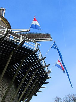 Mill, Flags, Detailed Mill, Balustrade, Wood, Blue Sky