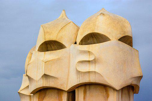Gaudi, Statue, Roof, Building, Barcelona, Catalonia