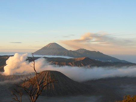 Indonesia, Volcano, Bromo, Fog, Clouds, Landscape