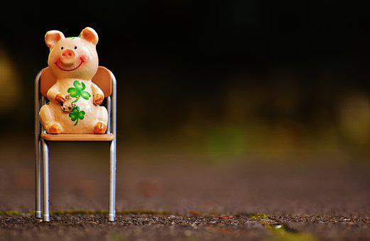Lucky Pig, Fig, Luck, Lucky Charm, Funny, Chair, Sit