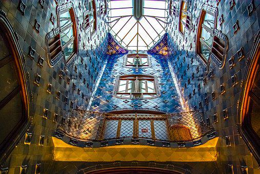 Gaudi, Barcelona, Building, Inside, Skylight