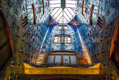 Gaudi, Barcelona, Building, Inside, Skylight