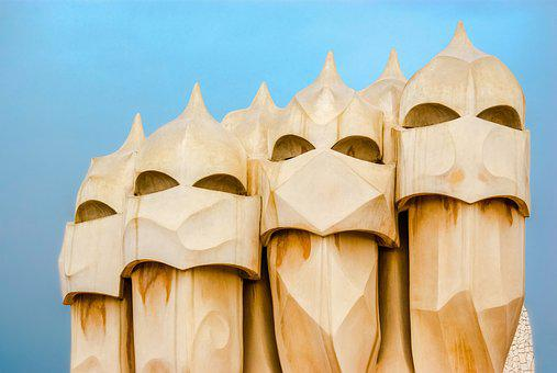 Gaudi, Statue, Roof, Building, Barcelona, Catalonia
