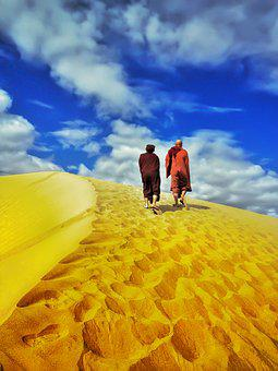 Theravada Buddhism, Monk In Desert, Walking In Dessert