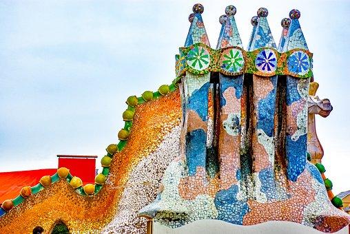 Gaudi, Building, Barcelona, Casa Balto, Roof, Mosaic