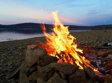Beach, Bonfire, Campfire, Fire, Firewood, Camping, Dusk