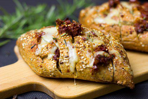 Bread, Cheese, Tomatoes, Baked Herbs, Rosemary, Roll