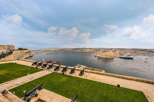 Malta, Port, Harbor, Cannons, Mediterranean, Boat, Ship