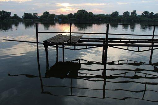 Sunset, Pier, Water, Ráckeve, Danube, Reflection, River