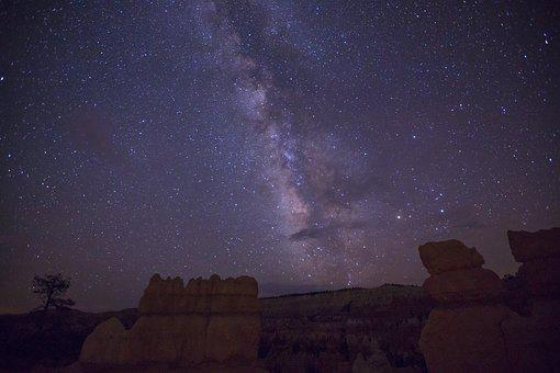 The Milky Way, Starry Sky, Canyon, Late, Star, Galaxy