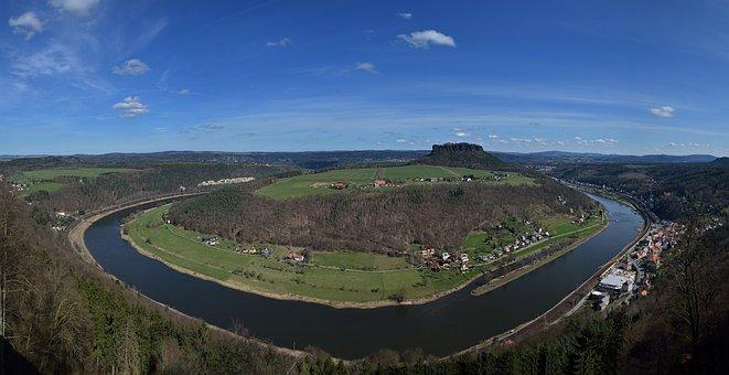 Elbe, Mesa Lilienstein, Landscape, River, Cirve, Vernal