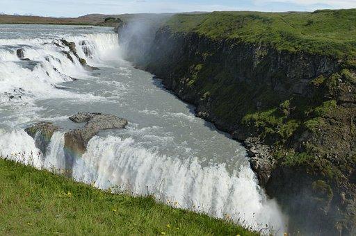 Iceland, Gullfoss, Waterfall, Landscape, Nature