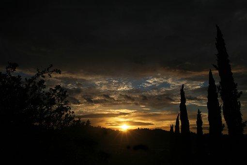 Sunset, Sky, Cloud, Horizin, Yellow, Dawn, View, Light