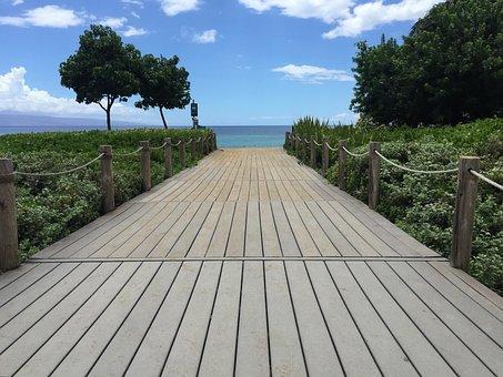 Boardwalk, Maui, Ocean, Tourism, Landscapes, Beach
