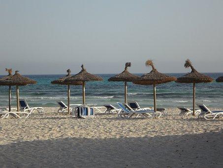Sun Loungers, Parasols, Beach, Sand Beach, Tourism