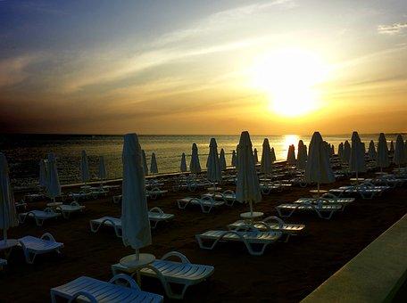 Beach, Sunset, Empty, Sun Loungers, Holiday