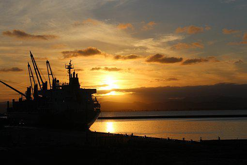 Gisborne, New Zealand, Ship, Sunset, Nature, Boot, Port
