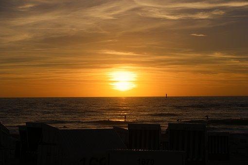 Sunset, North Sea, Sea, Sylt, Westerland, Beach