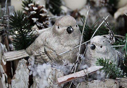 Silver Weihnachtsdeko, Birdie, Pine Cones, Silver White
