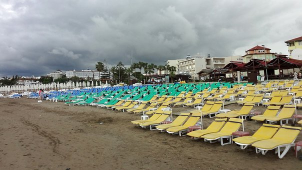 Beach, Holiday, Empty, Sun Loungers, Color