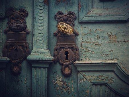 Door, Handle, Blue, Key, Open, Old Door, Old, Gate