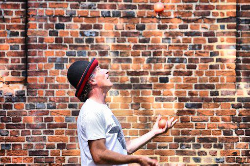Juggler, Brick, Wall, Acrobatic, Catching, Circus