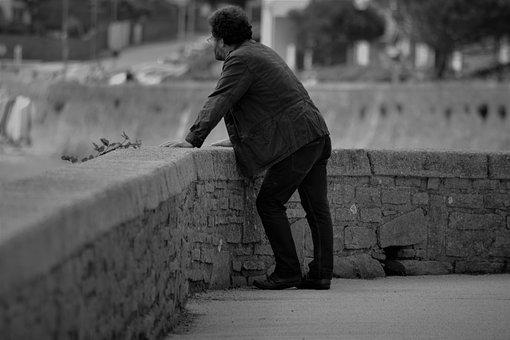 Man, Solitude, Only, Character, People, Black And White
