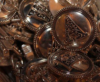 Buttons, Alphabet, Clothing, Copper, Shirt, Decorative