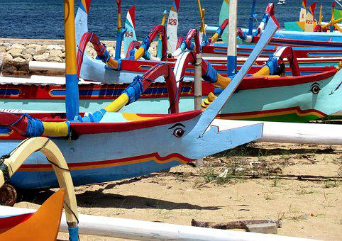 Fishing Boats, Beach, Bali, Colorful, Indonesia