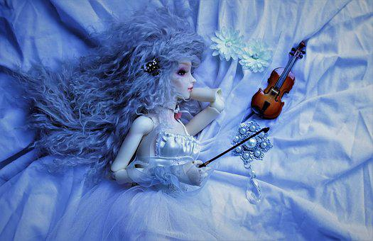 Doll, Sweetness, Violin, Blue, Fairy, Attraction, Girl
