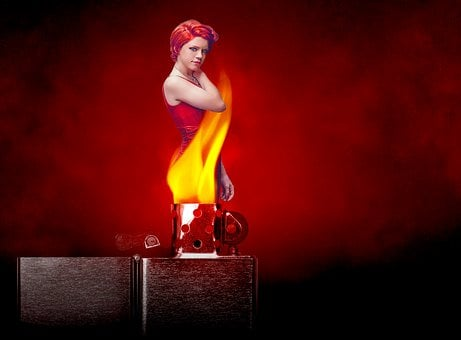 Fire, Flames, Red Dress, Woman, Redhead, Lighter, Pose