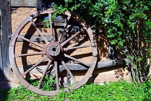 Wheel, Wooden Wheel, Wagon Wheel, Old, Spokes, Wheels