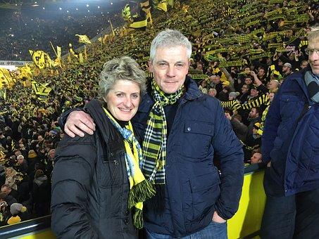 Football, Fans, Grandstand, Viewers, Crowd, Borussia