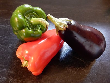 Vegetables, Bell Peppers, Red, Green, Aubergine