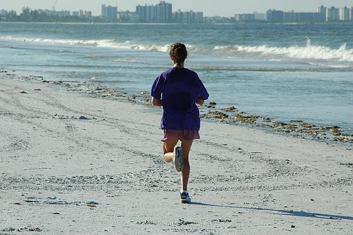 Woman Jogger, Jogging, Beach, Ocean, Fitness, Workout