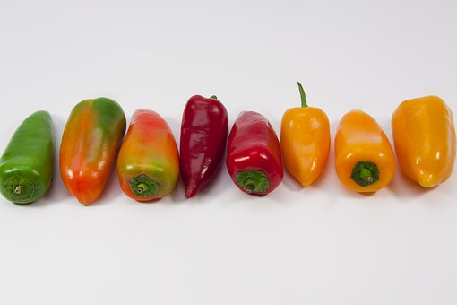 Paprika, Pointed Pepper, Yellow, Orange, Red, Green