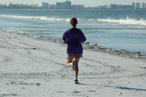 Woman Jogger, Jogging, Beach, Ocean, Fitness, Workout
