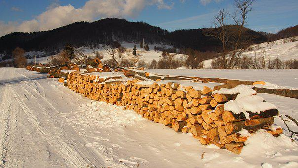 Firewood, Winter, Snow, Country, Woodpile, Lumber