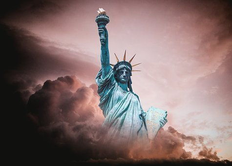 Statue Of Liberty, Turmoil, Political, Clouds